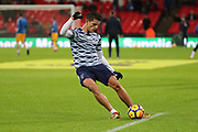 Erik Lamela of Tottenham Hotspur (11)  warming up during the Premier League match between Tottenham Hotspur and Brighton and Hove Albion at Wembley Stadium, London, England on 13 December 2017. Photo by Matthew Redman.