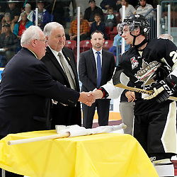 TRENTON, ON - SEP 8:  Lucas Brown #28 of the Trenton Golden Hawks receives his Dudley Hewitt Cup ring during a special pregame ceremony between the Newmarket Hurricanes and Trenton Golden Hawks on September 8, 2016 in Trenton, Ontario. (Photo by Amy Deroche/OJHL Images)