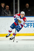 KELOWNA, BC - NOVEMBER 26:  Jalen Luypen #23 of the Edmonton Oil Kings skates with the puck from behind the net against the Kelowna Rockets at Prospera Place on November 26, 2019 in Kelowna, Canada. (Photo by Marissa Baecker/Shoot the Breeze)
