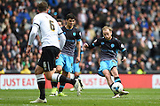 Sheffield Wednesday midfielder Barry Bannan shoots and scores to put the Owls 0-1 up during the Sky Bet Championship match between Derby County and Sheffield Wednesday at the iPro Stadium, Derby, England on 23 April 2016. Photo by Jon Hobley.