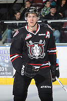 KELOWNA, CANADA - FEBRUARY 18: Turner Elson #10 of the Red Deer Rebels stands on the ice as the Red Deer Rebels visit the Kelowna Rockets on February 18, 2012 at Prospera Place in Kelowna, British Columbia, Canada (Photo by Marissa Baecker/Shoot the Breeze) *** Local Caption ***