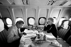 CSSR, 17 February 1990 - on board an aeroplane.Vaclav and Olga Havel on their way to Iceland, Canada, and the USA for state visits .