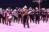 Royal Marine Massed Band, British Military Tournament Dress Rehearsal, Earls Court, London UK, 06 December 2013, Photo by Richard Goldschmidt