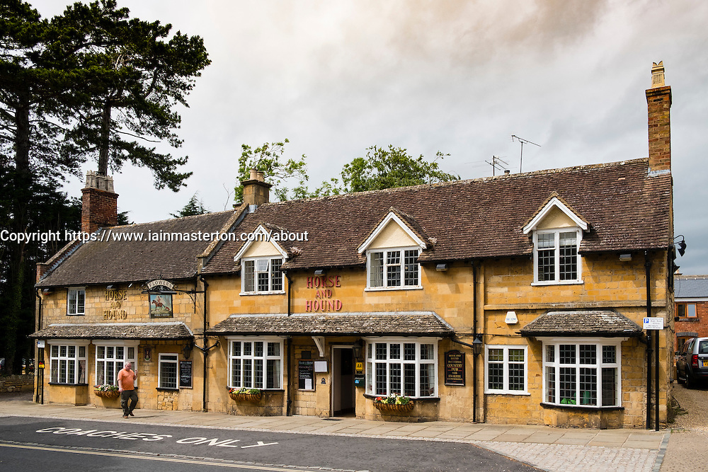 Horse and Hound pub in Broadway in the Cotswolds, Worcester, England, United Kingdom