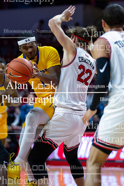 NORMAL, IL - December 07: Justin Thomas attempts to get past Matt Chastain during a college basketball game between the ISU Redbirds and the Morehead State Eagles on December 07 2019 at Redbird Arena in Normal, IL. (Photo by Alan Look)