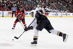 February 8, 2008; Newark, NJ, USA;  Anaheim Ducks right wing Teemu Selanne (8) takes a slap shot during the first period at the Prudential Center in Newark, NJ.