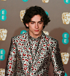 Timothée Chalamet on the red carpet ahead of the 2019 British Academy Film Awards at the Royal Albert Hall in London, England on 10th Feburary 2019. ©Ben Booth/Edinburgh Elite media