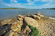Lake Winnipeg's rocky shoreline<br /> GRand Rapids<br /> Manitoba<br /> Canada