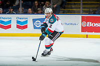 KELOWNA, CANADA - MARCH 3:  James Hilsendager #2 of the Kelowna Rockets skates with the puck against the Spokane Chiefs on March 3, 2018 at Prospera Place in Kelowna, British Columbia, Canada.  (Photo by Marissa Baecker/Shoot the Breeze)  *** Local Caption ***