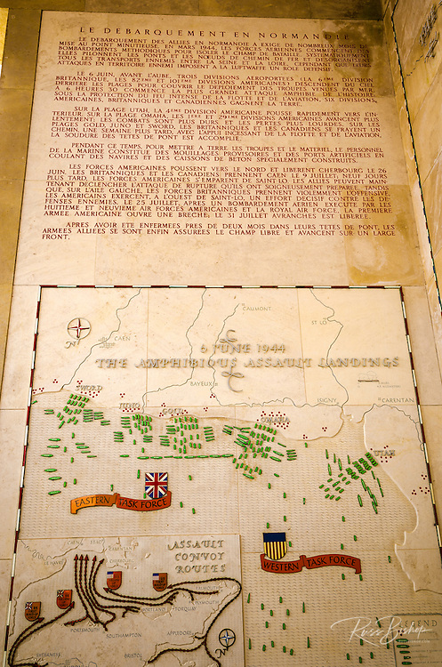 D-Day invasion map at the American Cemetery, Omaha Beach, Colleville-sur-Mer, Normandy, France