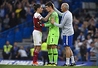 Football - 2018 / 2019 Premier League - Chelsea vs. Arsenal<br /> <br /> Arsenal's Hector Bellerin with Chelsea's Kepa at the final whistle, at Stamford Bridge.<br /> <br /> COLORSPORT/ASHLEY WESTERN