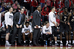 20 March 2017:  Knights bench during a College NIT (National Invitational Tournament) 2nd round mens basketball game between the UCF (University of Central Florida) Knights and Illinois State Redbirds in  Redbird Arena, Normal IL