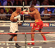Picture by Richard Gould/Focus Images Ltd +44 7855 403186<br /> 13/07/2013<br /> Kell Brook (Red shorts) and Carson Jones pictured during their International Welterweight contest at Craven Park, Hull.