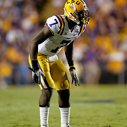 Sep 25, 2010; Baton Rouge, LA, USA; LSU Tigers cornerback Patrick Peterson (7) against the West Virginia Mountaineers during the first half at Tiger Stadium.  Mandatory Credit: Derick E. Hingle