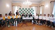 Official draw one day before the BNP Paribas Davis Cup 2013 between Poland and South Africa at MOSiR Hall in Zielona Gora on April 04, 2013...Poland, Zielona Gora, April 04, 2013..Picture also available in RAW (NEF) or TIFF format on special request...For editorial use only. Any commercial or promotional use requires permission...Photo by © Adam Nurkiewicz / Mediasport