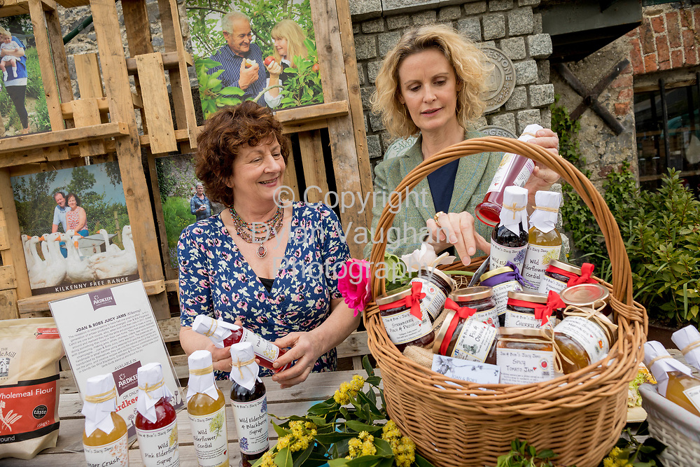 Repro Free No charge for Repro<br /> <br /> 24-4-17<br /> <br /> Helen Carroll of RTE&rsquo;s Ear to the Ground launched the next phase of #TasteKilkenny on Monday, 24th April at a lunch event at Highbank Orchards &amp; Distillery, Cuffesgrange, Co Kilkenny.<br /> <br /> Pictured at the launch were Helen Carroll of RTE&rsquo;s Ear to the Ground and Joan Cahill, Joan and Bobs Juicy Jams.<br /> <br /> <br /> An afternoon of tasting and presentations took place, including a welcome address by Cllr Matt Doran, Cathaoirleach and an update on the #TasteKilkenny initiative by Fiona Deegan. Followed by the official launch of the #TasteKilkenny website and videos.<br />  <br /> #TasteKilkenny was established as a collective of Kilkenny based producers and outlets to promote the vibrant food scene in Kilkenny and create a platform to showcase the very best of local food production. For more information see: www.TasteKilkenny.ie.<br /> <br /> Picture Dylan Vaughan.