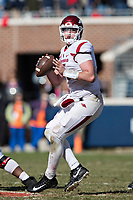 OXFORD, MS - OCTOBER 28:  Cole Kelley #15 of the Arkansas Razorbacks drops back to pass during a game against the Ole Miss Rebels at Hemingway Stadium on October 28, 2017 in Oxford, Mississippi.  The Razorbacks defeated the Rebels 38-37.  (Photo by Wesley Hitt/Getty Images) *** Local Caption *** Cole Kelley