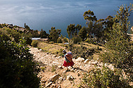 Early morning sunlight on the Island of the Sun, Lake Titicaca, Bolivia.