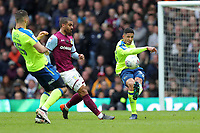 Aston Villa v Derby County - Sky Bet Championship<br /> BIRMINGHAM, ENGLAND - APRIL 28 :  Curtis Davies, of Derby County, clears the ball against Aston Villa