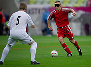 Soccer players from Cross Association of Blind Athletes while their soccer match before the UEFA EURO 2012 Quarterfinal football match between Germany and Greece at Gdansk Arena in Gdansk on June 22, 2012...Poland, Gdansk, June 22, 2012..Picture also available in RAW (NEF) or TIFF format on special request...For editorial use only. Any commercial or promotional use requires permission...Photo by © Adam Nurkiewicz / Mediasport