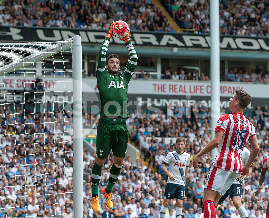 Hugo Llori of Tottenham Hotspur catches the a cross during the Barclays Premier League match between Tottenham Hotspur and Stoke City at White Hart Lane, London, England on 15 August 2015. Photo by Vince  Mignott.