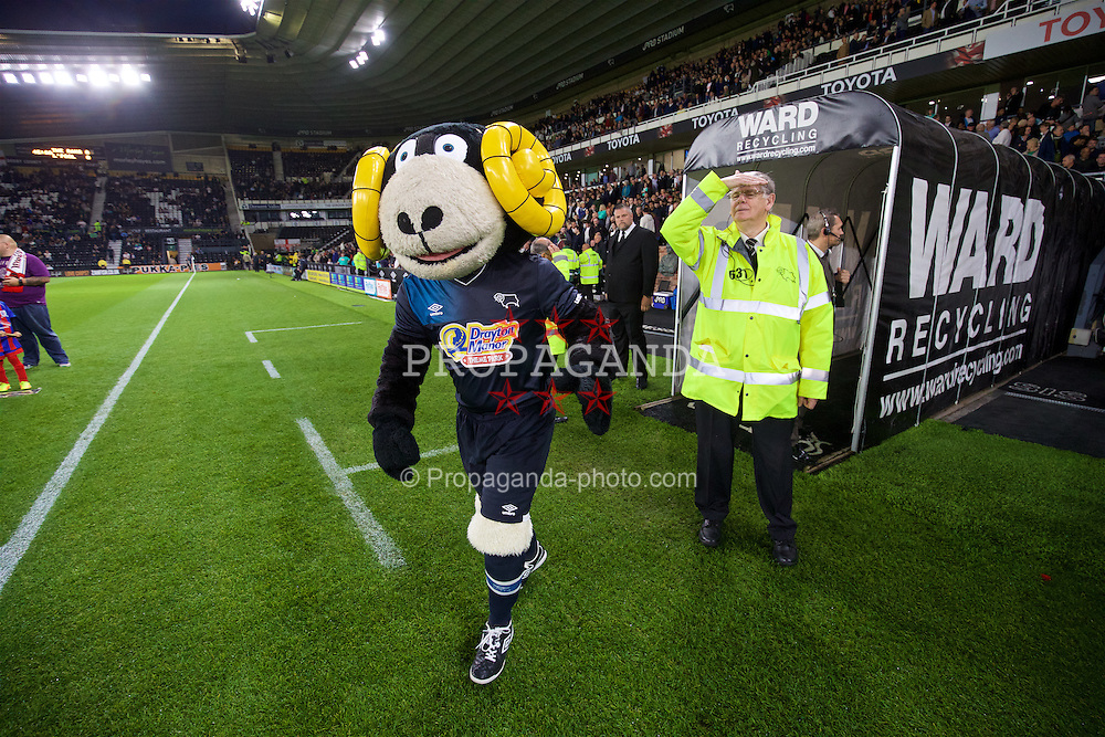 DERBY, ENGLAND - Tuesday, September 20, 2016: Derby County's mascot Rammie during the Football League Cup 3rd Round match at Pride Park. (Pic by David Rawcliffe/Propaganda)