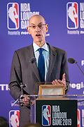 Commissioner  of the NBA Adam Silver at the press conference during the NBA London Game match between Washington Wizards and New York Knicks at the O2 Arena, London, United Kingdom on 17 January 2019.