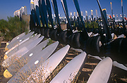 Awaiting recycling are the propellers of now-retired in the arid desert, on 15th August 1998, at Davis Monthan Air Force Base, Tucson, Arizona, USA.