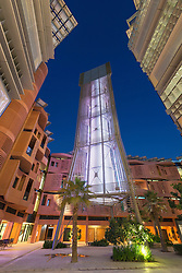 Wind tower in courtyard at Masdar Institute of Science and Technology in Abu Dhabi United Arab Emirates