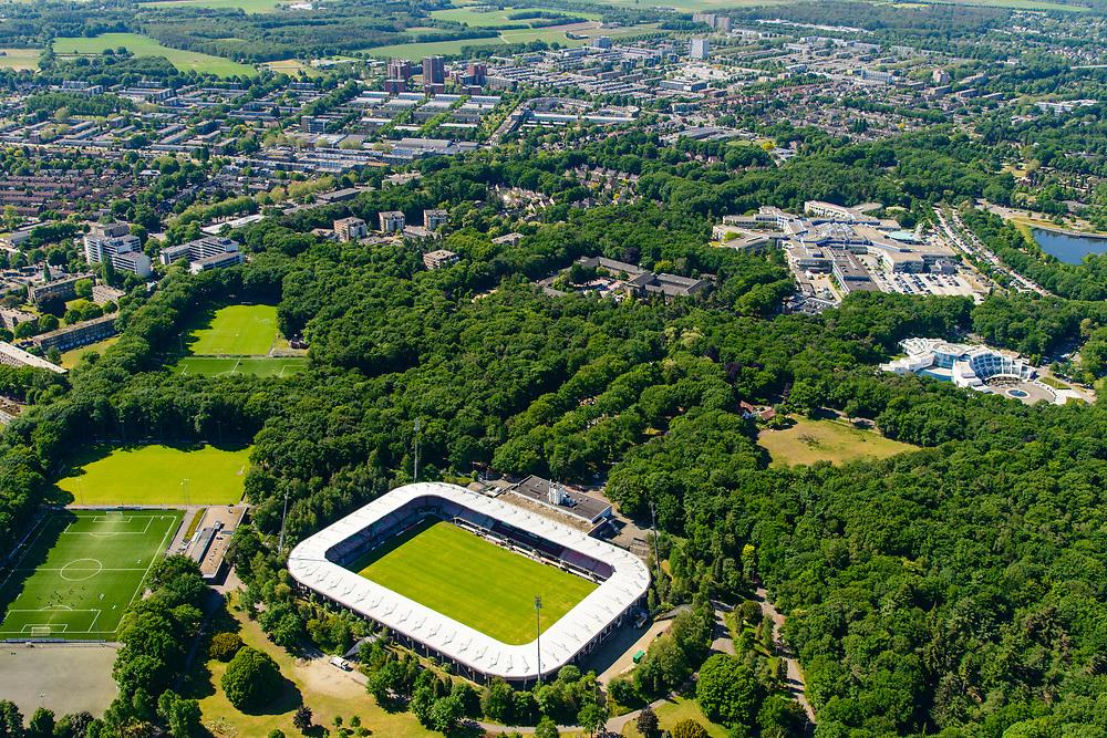 Nederland, Gelderland, Nijmegen, 29-05-2019; Goffert, Goffertstadion (Stadion De Goffert, bijgenaamd De Bloedkuul), N.E.C. (NEC). Gelegen in het Goffertpark.<br /> Goffert Stadium N.E.C. (NEC). Located in the Goffertpark.<br /> <br /> luchtfoto (toeslag op standard tarieven);<br /> aerial photo (additional fee required);<br /> copyright foto/photo Siebe Swart