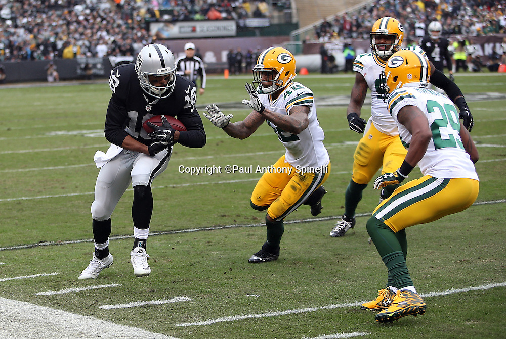 Oakland Raiders wide receiver Andre Holmes (18) is chased by Green Bay Packers strong safety Morgan Burnett (42), Green Bay Packers cornerback Casey Hayward (29), and Green Bay Packers linebacker Jay Elliott (91) as he catches an 11 yard first quarter pass and runs it to the Green Bay Packers 15 yard line during the 2015 week 15 regular season NFL football game against the Green Bay Packers on Sunday, Dec. 20, 2015 in Oakland, Calif. The Packers won the game 30-20. (©Paul Anthony Spinelli)