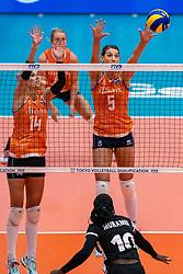 03-08-2019 ITA: FIVB Tokyo Volleyball Qualification 2019 / Netherlands, - Kenya Catania<br /> 3rd match pool F in hall Pala Catania between Netherlands - Kenya. Netherlands win 3-0 / Laura Dijkema #14 of Netherlands, Robin de Kruijf #5 of Netherlands