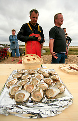 UK ENGLAND WEST MERSEA 13SEP09 - Fresh oysters prepared for consumption after the annual oyster  dredge match off the coast of West Mersea, Essex, England.....jre/Photo by Jiri Rezac / WWF UK....© Jiri Rezac 2009