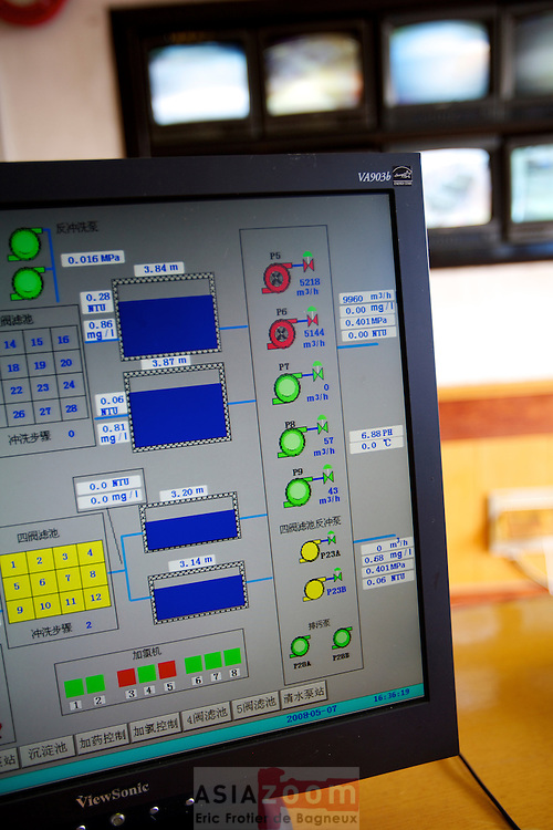 Detail in the control room of Liu Xi WWTP