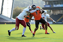 Netherlands player on the attack at the IFAF European Championship at the Sixways Stadium  - Photo mandatory by-line: Dougie Allward/JMP - 18/09/2016 - American Football - Sixways Stadium - Worcester, England - Netherlands v Russia - IFAF European Championship