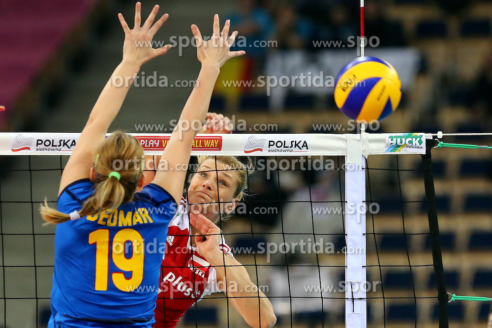 04.01.2014, Atlas Arena, Lotz, POL, FIVB, Damen WM Qualifikation, Polen vs Spanien, im Bild (P) MALGORZATA GLINKA MOGENTALE ATAK // (P) MALGORZATA GLINKA MOGENTALE ATAK during the ladies FIVB World Championship qualifying match between Poland and Spain at the Atlas Arena in Lotz, Poland on 2014/01/04. EXPA Pictures &copy; 2014, PhotoCredit: EXPA/ Newspix/ Jakub Piasecki<br /> <br /> *****ATTENTION - for AUT, SLO, CRO, SRB, BIH, MAZ, TUR, SUI, SWE only*****