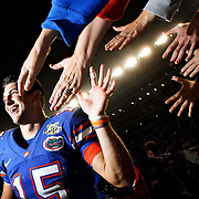 Florida quarterback Tim Tebow  celebrates the win over Florida State with Gator fans in the final home game of the season.