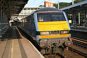 Class 82 electric locomotive train at platform, Ipswich railway station, Suffolk, England