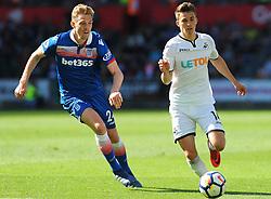 Darren Fletcher of Stoke City competes with Tom Carroll of Swansea City -Mandatory by-line: Nizaam Jones/JMP- 13/05/2018 - FOOTBALL - Liberty Stadium - Swansea, Wales - Swansea City v Stoke City - Premier League