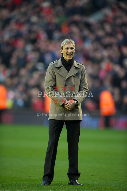 LIVERPOOL, ENGLAND - Saturday, January 14, 2012: Former Liverpool player Sami Hyypia at the pitch at half-time during the Premiership match between Liverpool and Stoke City at Anfield. (Pic by David Rawcliffe/Propaganda)