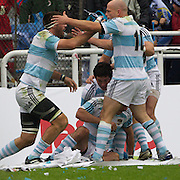 Argentina celebrate a try by Juan Martin Fernandez Lobbe during the Argentina V France test match at Estadio Jose Amalfitani, Buenos Aires,  Argentina. 26th June 2010. Photo Tim Clayton...