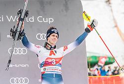 26.01.2020, Streif, Kitzbühel, AUT, FIS Weltcup Ski Alpin, Slalom, Herren, Siegerehrung, im Bild Clement Noel (FRA) // Clement Noel of France during the winner ceremony for the men's Slalom of FIS Ski Alpine World Cup at the Streif in Kitzbühel, Austria on 2020/01/26. EXPA Pictures © 2020, PhotoCredit: EXPA/ Stefan Adelsberger