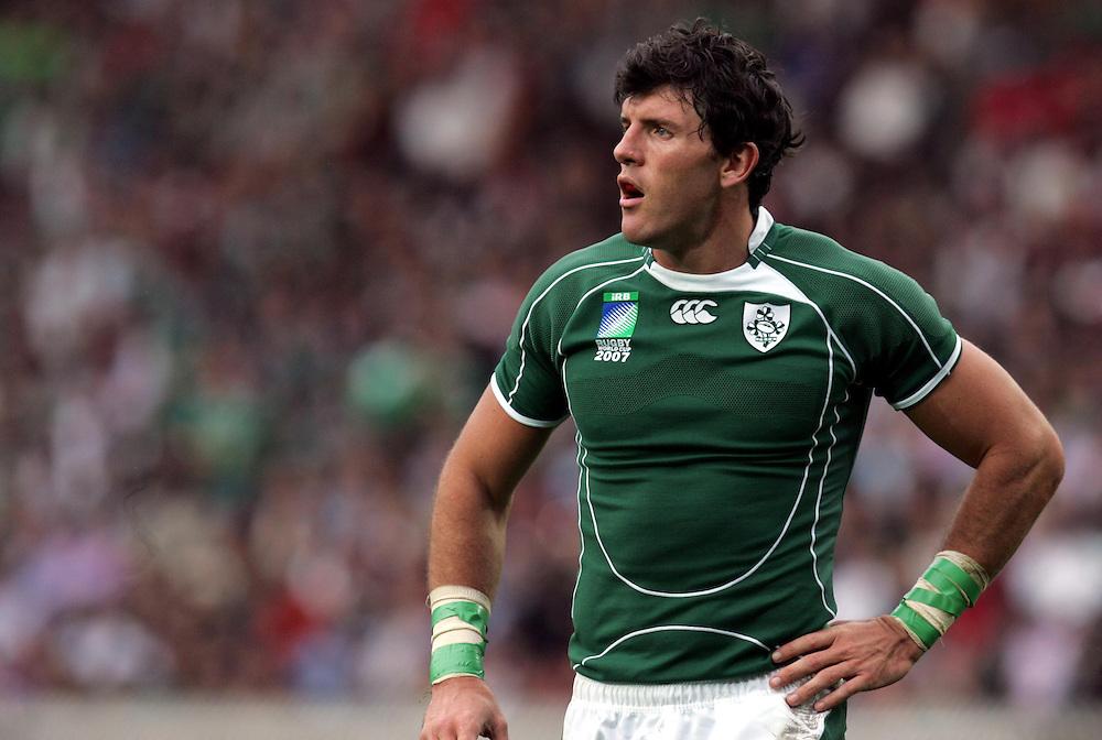 Donnocha O'Callaghan of Ireland. Ireland v Argentina, Parc Des Princes, Paris, France, 30th September 2007. Rugby World Cup 2007. ..