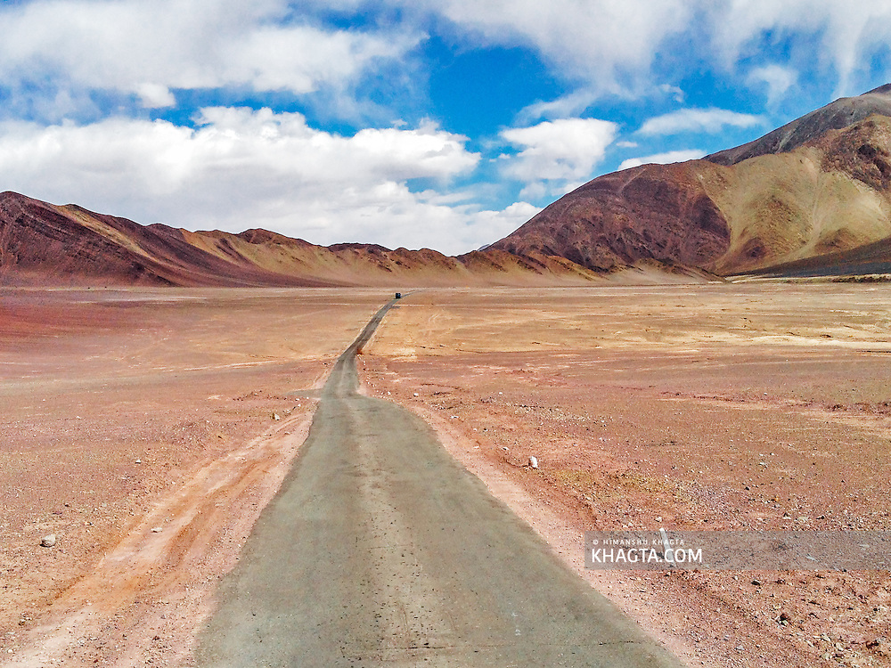 Landscape of the road going to Hanle in Ladakh, Jammu and Kashmir, India.