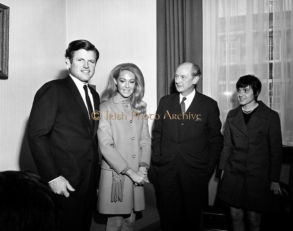 Edward Kennedy and his wife, Joan, pay a visit to Taoiseach Jack Lynch.<br />