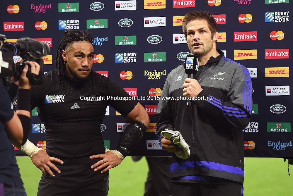 Ma'a Nonu is presented with his 100th test match cap by Richie McCaw during the New Zealand All Blacks v Tonga Rugby World Cup 2015 match. St James' Park in Newcastle. UK. Friday 9 October 2015. Copyright Photo: Andrew Cornaga / www.Photosport.nz