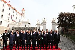 BRATISLAVA, Sept. 16, 2016 (Xinhua) -- Leaders attending an informal European Union (EU) summit pose for a group photo after the first part of discussions of the summit in Bratislava, Slovakia, Sept. 16, 2016. The leaders of 27 EU countries want to showcase their unity and prove that the bloc is a unique project, Slovak Prime Minister Robert Fico said upon arrival at an informal EU summit held in Bratislava Friday. (Xinhua/Andrej Klizan) (Credit Image: © Andrej Klizan/Xinhua via ZUMA Wire)