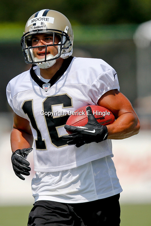 Jul 26, 2013; Metairie, LA, USA; New Orleans Saints wide receiver Lance Moore (16) during the first day of training camp at the team facility. Mandatory Credit: Derick E. Hingle-USA TODAY Sports