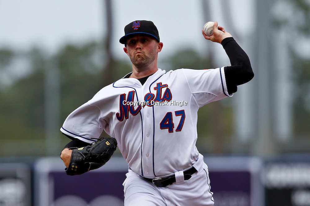March 6, 2011; Port St. Lucie, FL, USA; New York Mets relief pitcher Taylor Tankersley (47) during a spring training exhibition game against the Boston Red Sox at Digital Domain Park. The Mets defeated the Red Sox 6-5.  Mandatory Credit: Derick E. Hingle