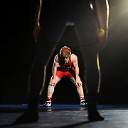Kris Wilson/News Tribune<br /> Jefferson City's Gavin Dewitt looks down at the mat as the announcer reads off his season statistics during wrestler introductions prior to his Class 4 145-pound championship match with Park Hill's Sean Hosford during the 2016 MSHSAA Wrestling State Championships at Mizzou Arena in Columbia.